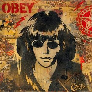 Shepard Fairey, Ramone Poster Stencil Collage on Album Cover