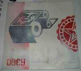 Shepard Fairey, Icon Roller Stencil Collage on Album Cover