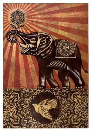 Shepard Fairey, Elephant Peace Canvas