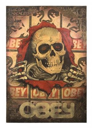 Shepard Fairey, Bones Ripper Canvas