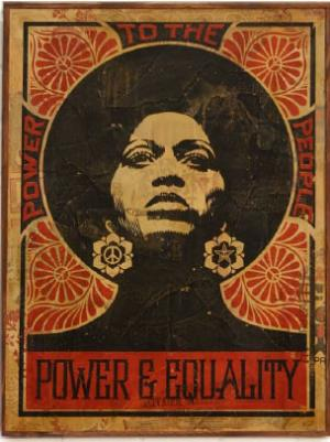 Shepard Fairey, Afrocentric Red HPM on Wood