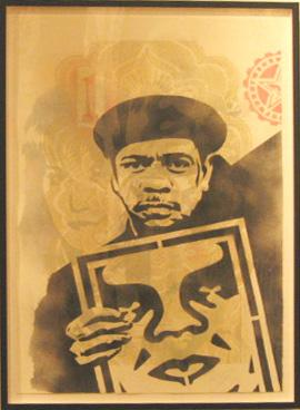 Shepard Fairey,  Angry Nubian Stencil Collage on Paper