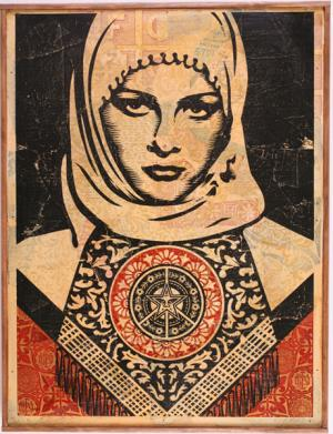 Shepard Fairey, Arab Woman HPM on Wood