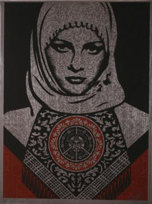 Shepard Fairey, Arab Woman on Metal 