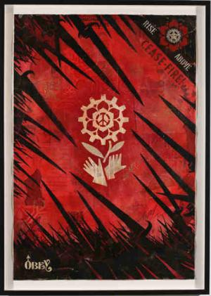 Shepard Fairey, Bayonettes Stencil Collage on Paper