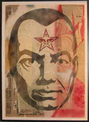 Shepard Fairey, Big Brother Stencil Collage on Paper