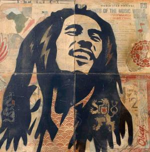 Shepard Fairey, Bob Marley Stencil Collage on Album Covers