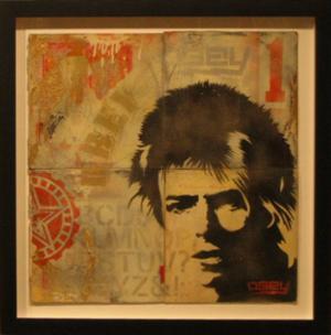 Shepard Fairey, David Bowie Stencil Collage on Album Covers
