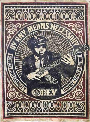 Shepard Fairey, By Any Means Necessary Stencil Collage on Paper