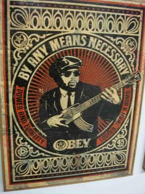 Shepard Fairey, By Any Means Necessary HPM on Wood