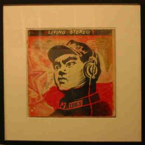 Shepard Fairey, Chinese Operator Stencil Collage on Album Cover