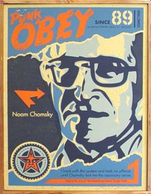 Shepard Fairey, Noam Chomsky on Wood 