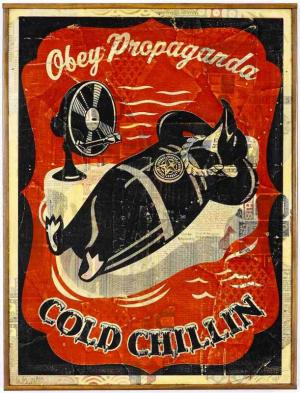 Shepard Fairey, Cold Chillin Red HPM on Wood