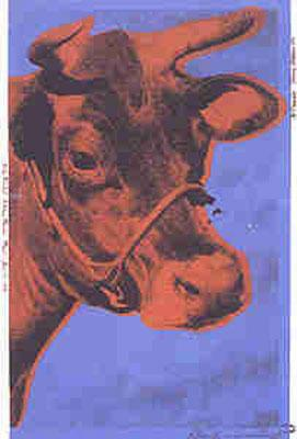 Cow - brown on blue background