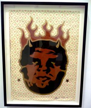 Shepard Fairey, Devil Andre Stencil on Wallpaper