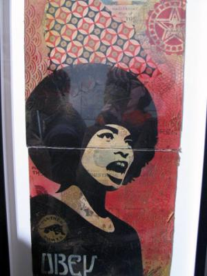Shepard Fairey, Angela Davis Stencil Collage on Album Covers