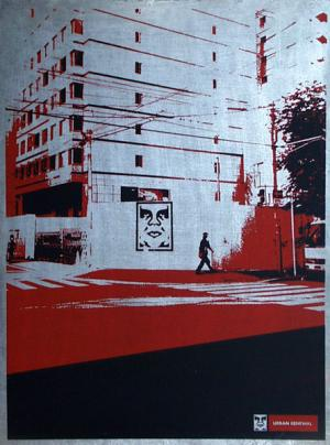 Shepard Fairey, Osaka Wall on Metal