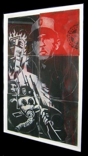 Shepard Fairey, Fear Bush Stencil Collage on Album Covers