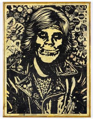 Shepard Fairey, Fiend Rocker HPM on Wood