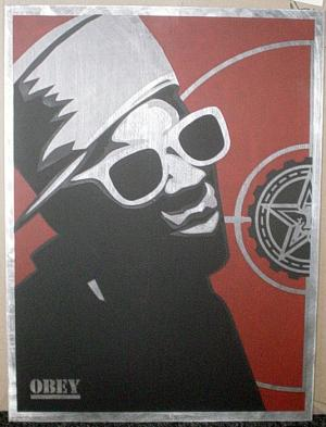 Shepard Fairey, Flava Flav Poster on Metal (Variant)