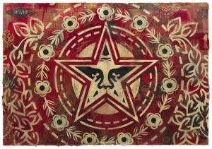 Shepard Fairey, Giant Star Peace Stencil Collage on Paper