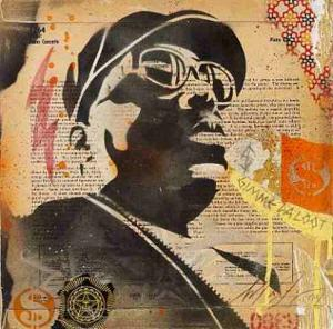 Shepard Fairey, Biggie Stencil Collage on Album Cover