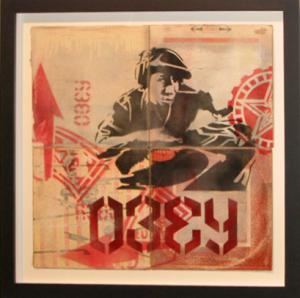 Shepard Fairey, Grandmaster Flash (Bring The Noise) Stencil Collage on Album Covers