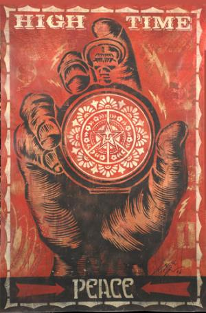 Shepard Fairey, High Time for Peace Stencil Collage on Paper