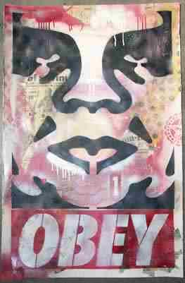 Shepard Fairey, Icon Stencil Collage on Paper