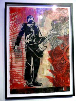 Shepard Fairey, Interpol Carlos Stencil Collage on Paper