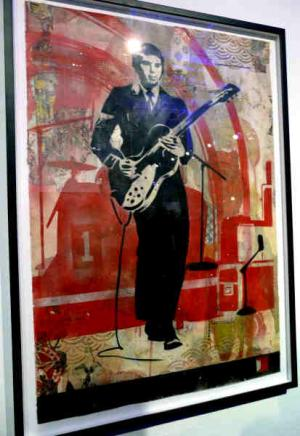 Shepard Fairey, Interpol Daniel Stencil Collage on Paper
