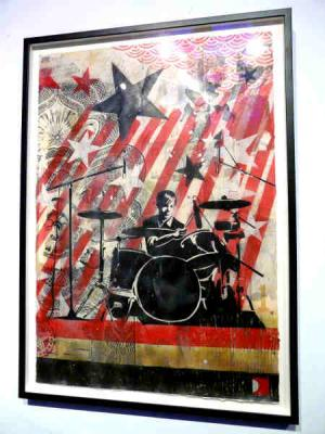Shepard Fairey, Interpol Sam Stencil Collage on Paper