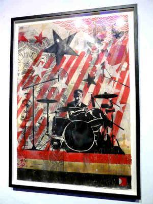 Shepard Fairey, Interpol Sam Stencil Collage on Paper