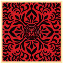 Shepard Fairey, Japanese Fabric Pattern Red and Black 1