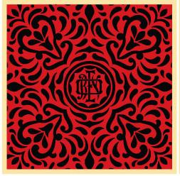 Shepard Fairey, Japanese Fabric Pattern Red and Black 3