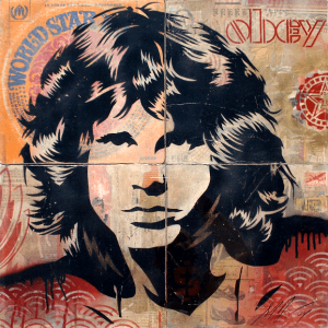 Shepard Fairey, Jim Morrison Stencil Collage on Album Covers