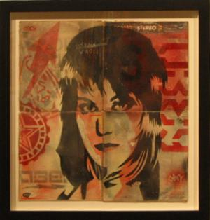 Shepard Fairey, Joan Jett Stencil Collage on Album Covers