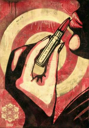 Shepard Fairey, Kiss Me Deadly Stencil Collage on Paper
