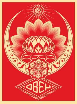 Shepard Fairey, Lotus Ornament Red