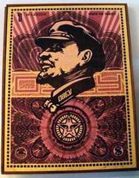 Shepard Fairey, Lenin Money on Wood