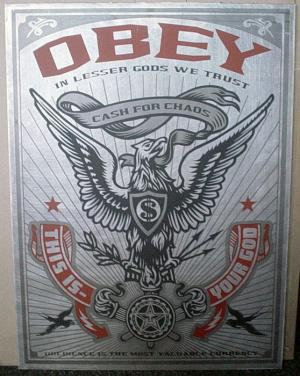 Shepard Fairey, Lesser Gods Eagle on Metal