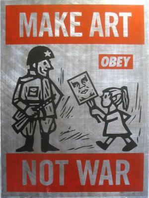 Shepard Fairey, Make Art Not War on Metal