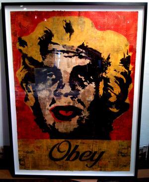 Shepard Fairey, Marilyn Warhol Stencil Collage on Paper