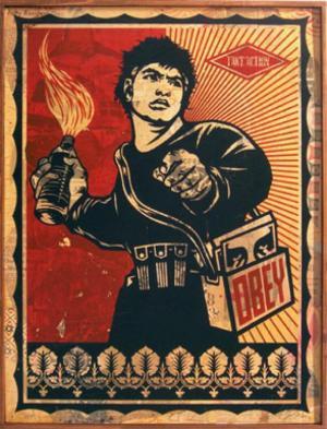 Shepard Fairey, Molotov Man HPM on Wood