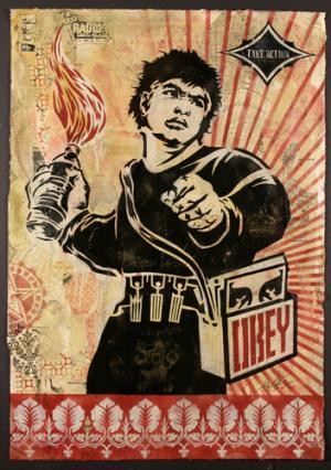 Shepard Fairey, Molotov Man Stencil Collage on Paper