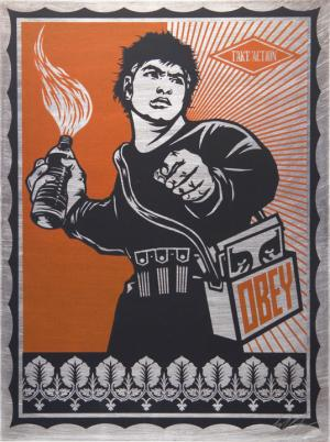 Shepard Fairey, Molotov Man on Metal