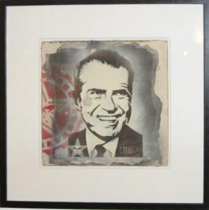 Shepard Fairey, Nixon Retired Stencil on Album Cover