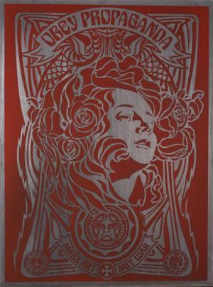 Shepard Fairey, Nouveau Red on Metal