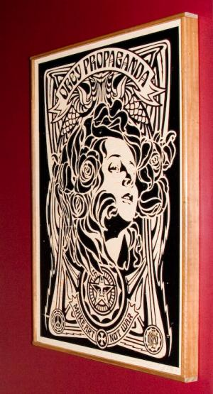 Shepard Fairey, Nouveau Black on Wood