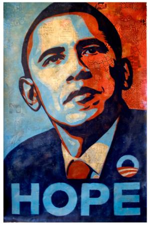 Shepard Fairey, Obama Hope Stencil Collage on Paper